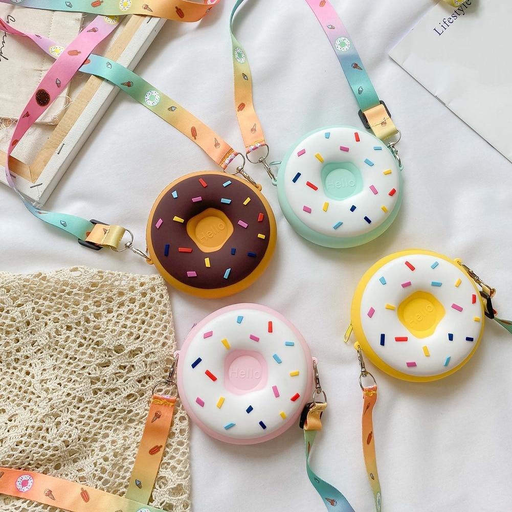 Children Cute Doughnut Crossbody Bag Kids Girls Boy Candy Color Silicone Shoulder Messenger Money Po