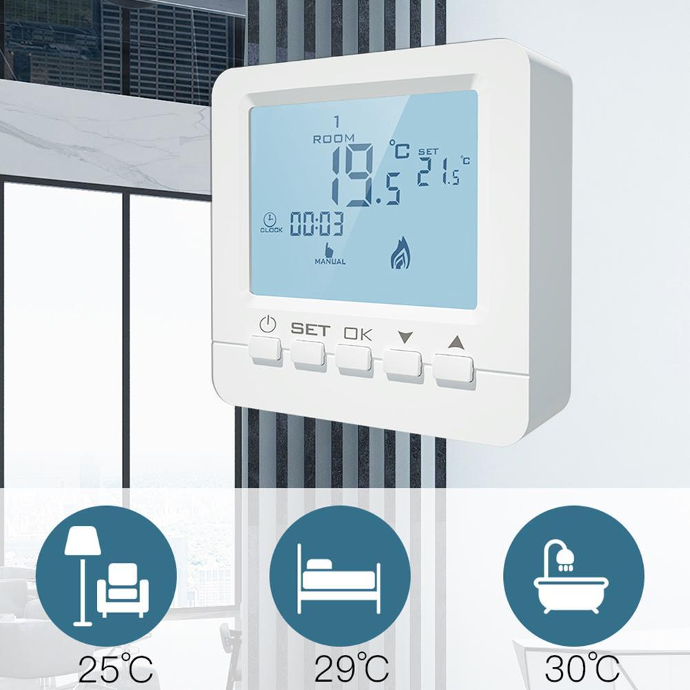 220V Family Intelligence System LCD Screen Programmable Temperature Controller Electric Underfloor Heating Room Thermostat