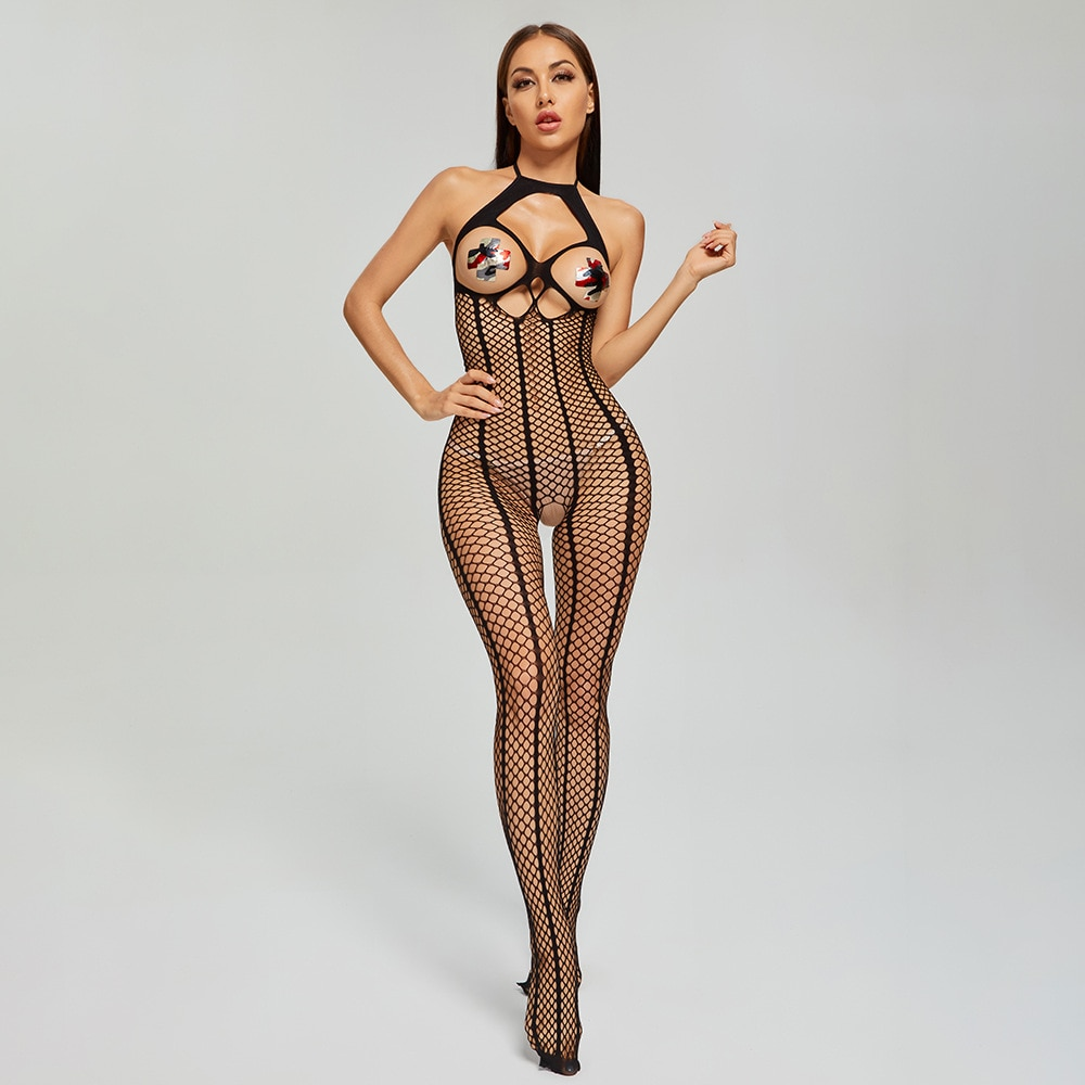 Body de lencería Sexy para mujer, ropa interior, sujetador abierto de rejilla, medias de malla, picardías erótico