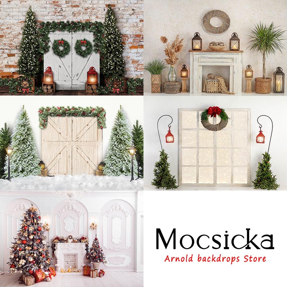 Рождественская елка камин дверь рельс украшение стиль ребенок портрет фото обои Фотография реквизит