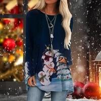women loose round neck t shirt snowman christmas tree pattern digital printing long sleeve top tc21