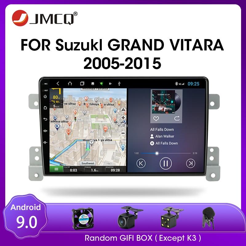 Jmcq android 9.0 rádio do carro para suzuki grand vitara 3 2005 2012 2013 2014 2015 multimidia vídeo 2 din rds dsp 4 + 64g gps navigaion