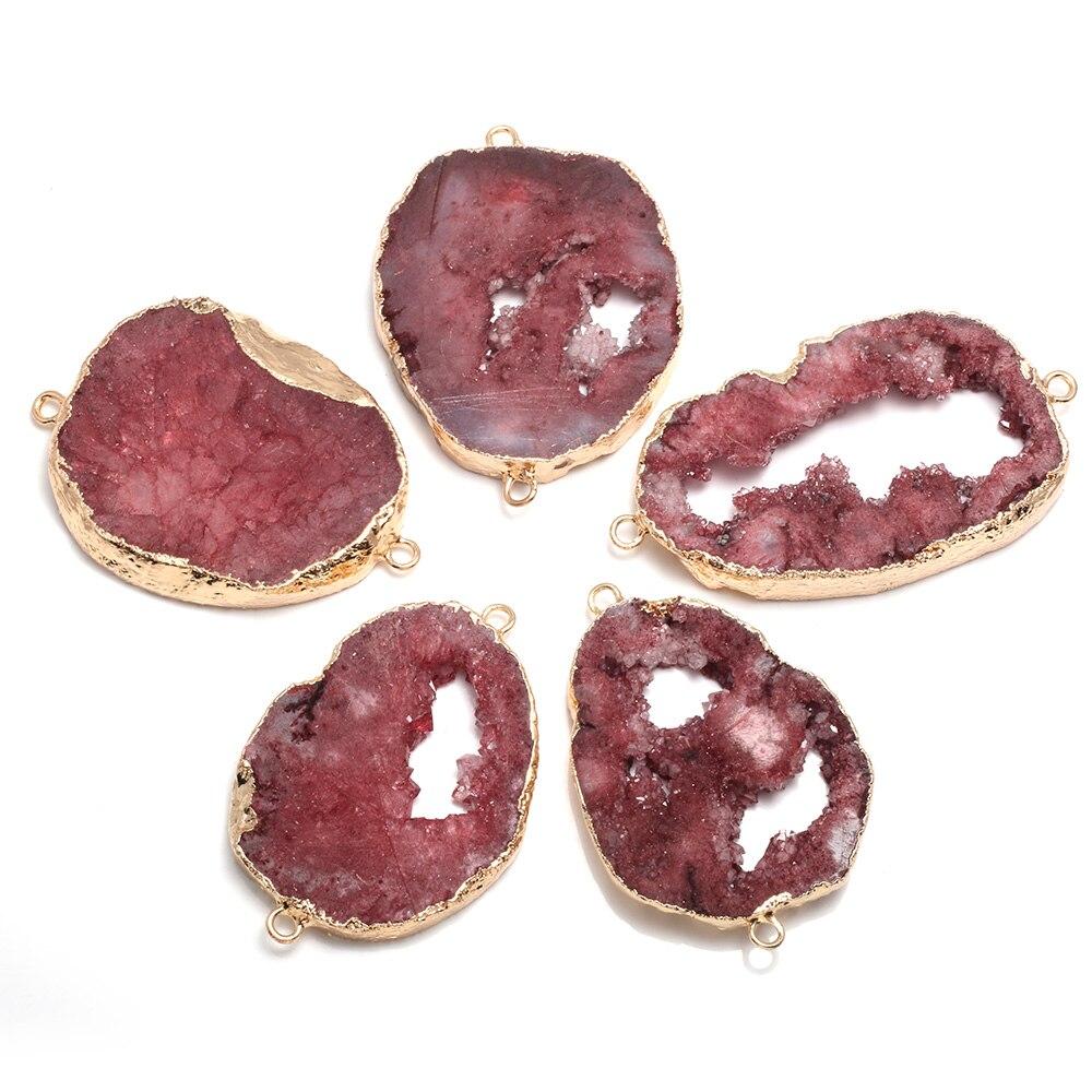 Натуральный агат подвеска-Агат разъемы нерегулярные Позолоченные двойное отверстие разъемы для бижутерии, материал для рукоделия