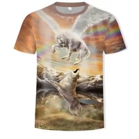 2021 summer mens clothing oversized t shirt wolf king with wings cool 3d wolf pattern 3d mens t shirt