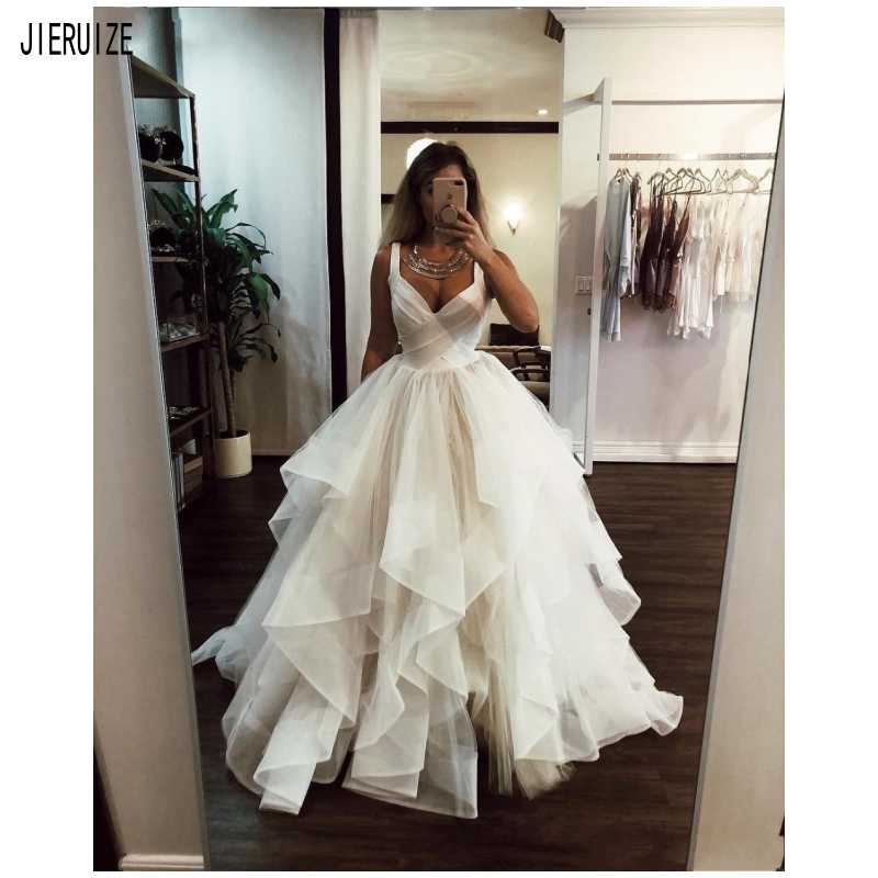 JIERUIZE New Tiered Wedding Dresses Spaghetti Ruffles White Ivory A Line Wedding Gowns Vestidos De Noiva Bride Bridal Gowns