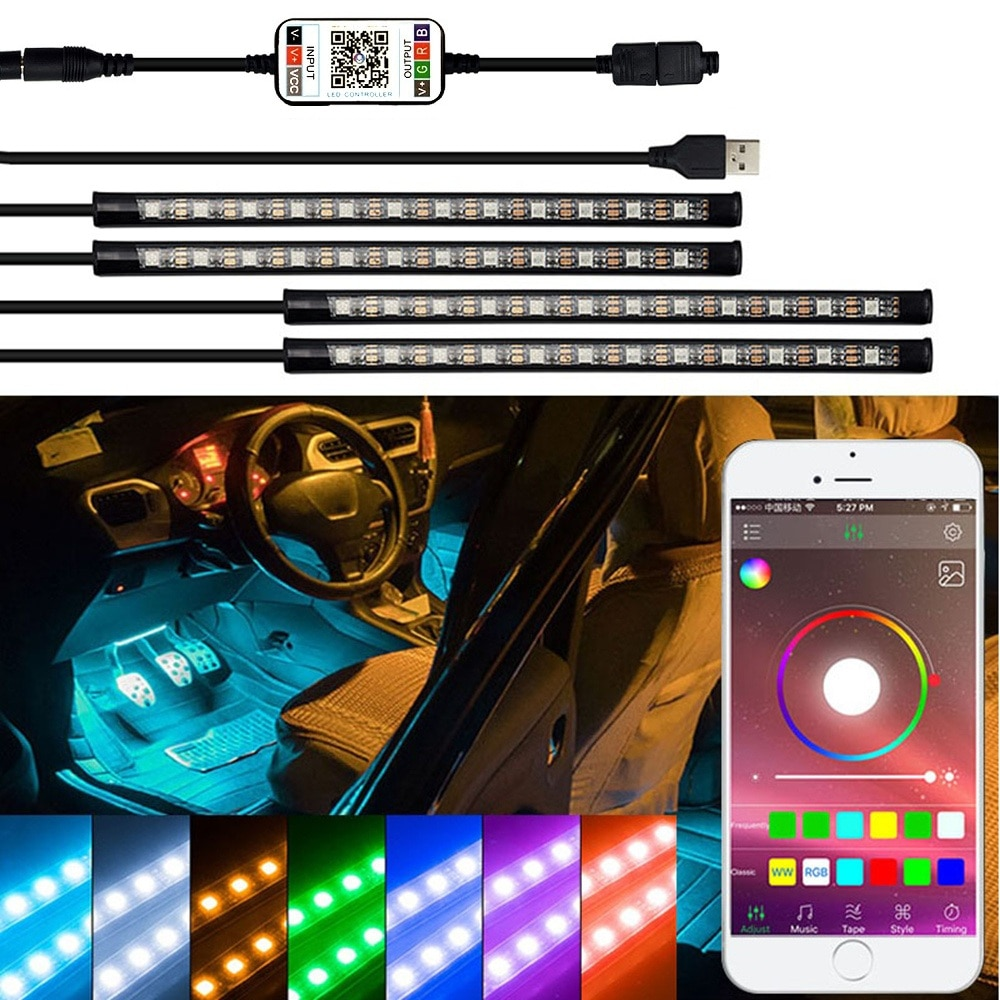 LED şerit RGB uzaktan kumanda araba dekoratif atmosfer lambası BMW E90 F10 E30 E34 X5 E53 M F20 X3 e87 E70 E92 X1 M3 X6 E38 Z4