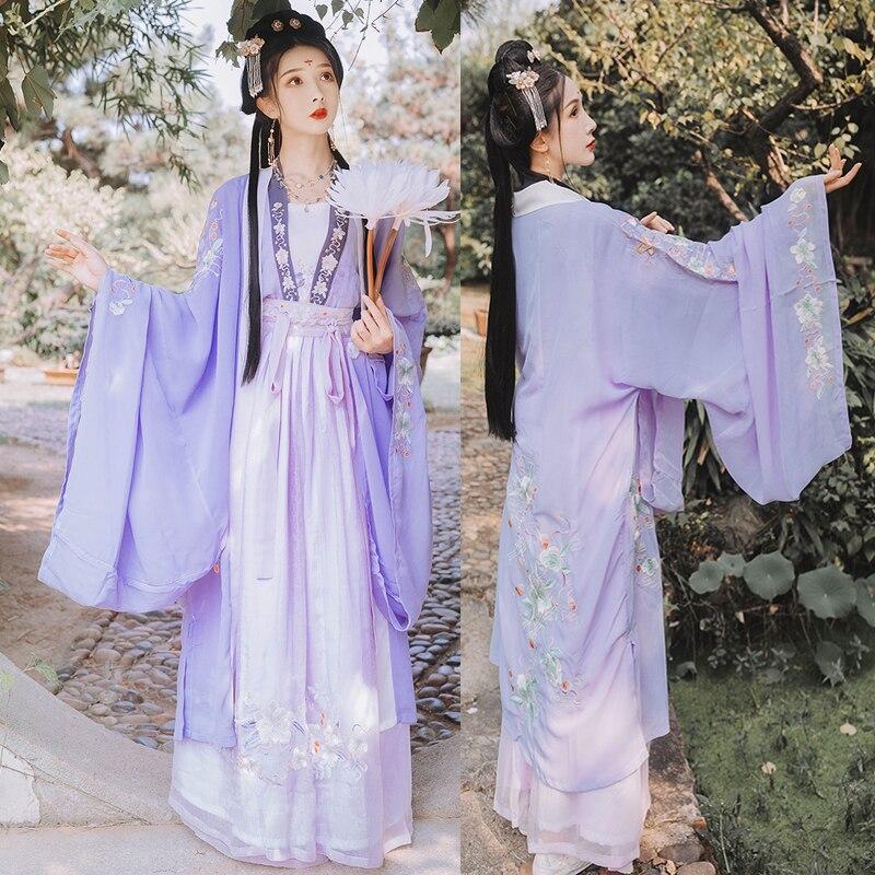 أزياء رقص صينية تقليدية ، فستان خرافية للأداء ، تطريز Hanfu ، شرقي ، تانج ، تأثيري Hanfu SL1717
