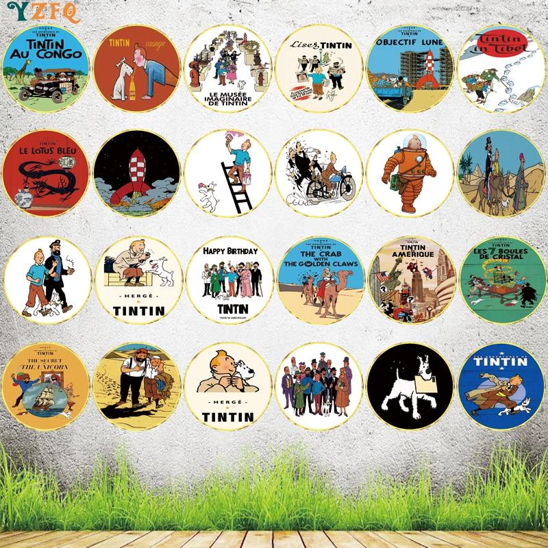 【Yzfq】letrero de Metal redondo de Tintin, placa de pared Irregular para niños, habitación, café, Bar, hogar, arte, cueva, decoración Vintage, 30CM, YY-0073
