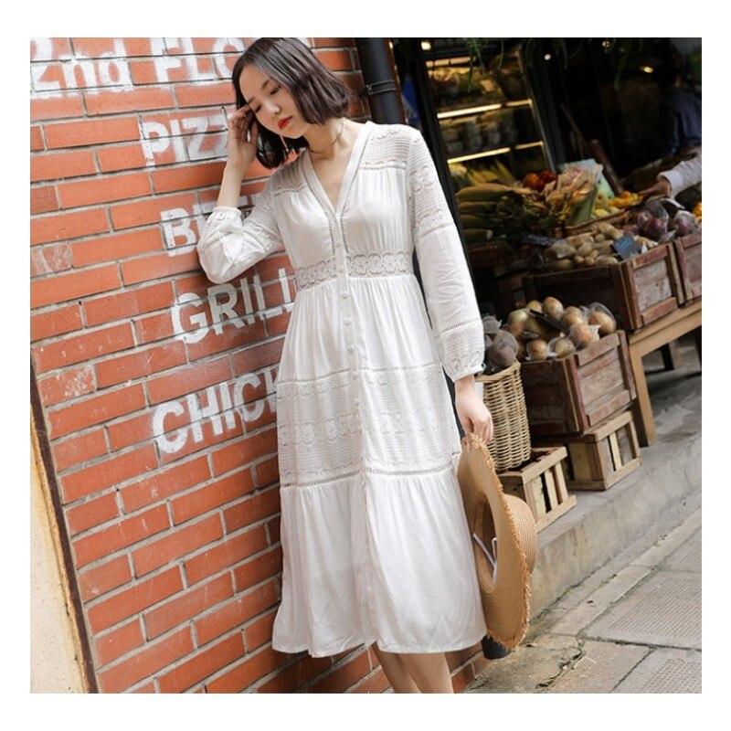 Bohemian chic V-neck cotton white lace patchwork dress 1173
