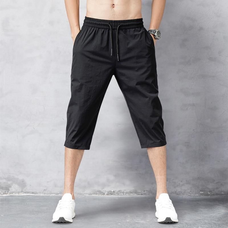Мужские пляжные шорты-бермуды, быстросохнущие черные длинные шорты, мужские бриджи, летние брюки из 2021 тонкого нейлона длиной 3/4