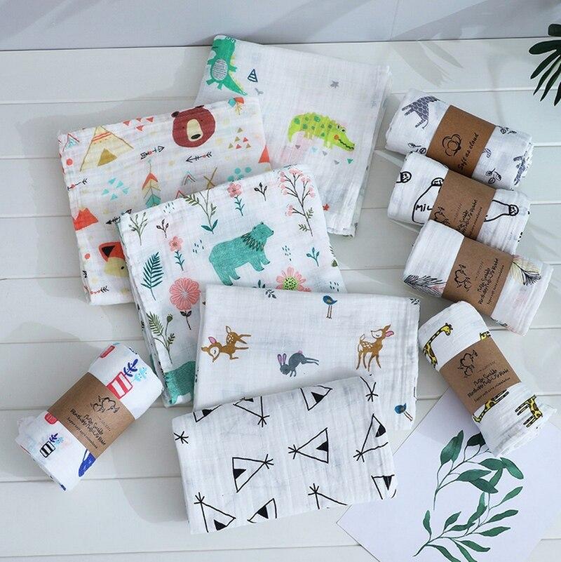 120cm*110cm Swaddle Blanket Baby Blanket Bamboo Muslin Blanket Kids Baby Bath Towel Blankets Newborn Blanket Swaddle Cotton