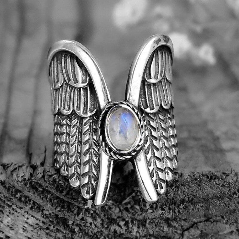Punk Vintage anillo alas de Ángel Thai anillos de color plata para mujer moda piedra lunar alas anillos joyería femenina regalos