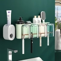 punch free wall mounted toothbrush holder set household toothbrush holder mouthwash cup storage rack toothpaste dispenser