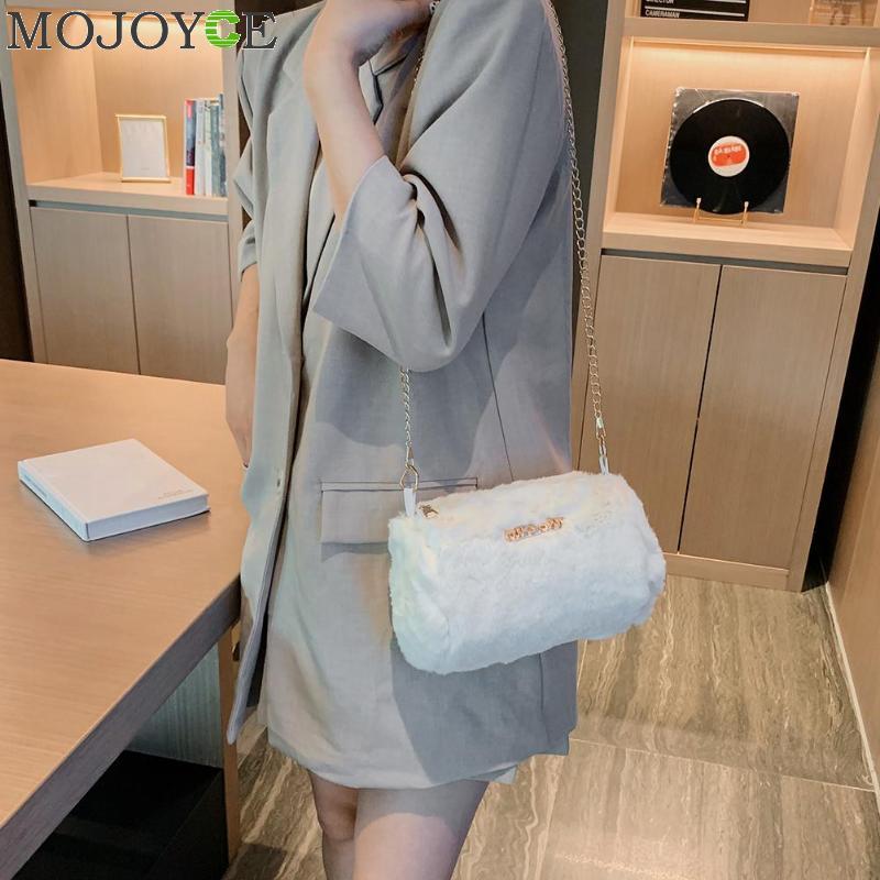 Moderno bandolera de felpa para mujer, colección otoño invierno, cadena de embrague cilíndrica esponjosa con cremallera, bolsos de hombro tipo bandolera