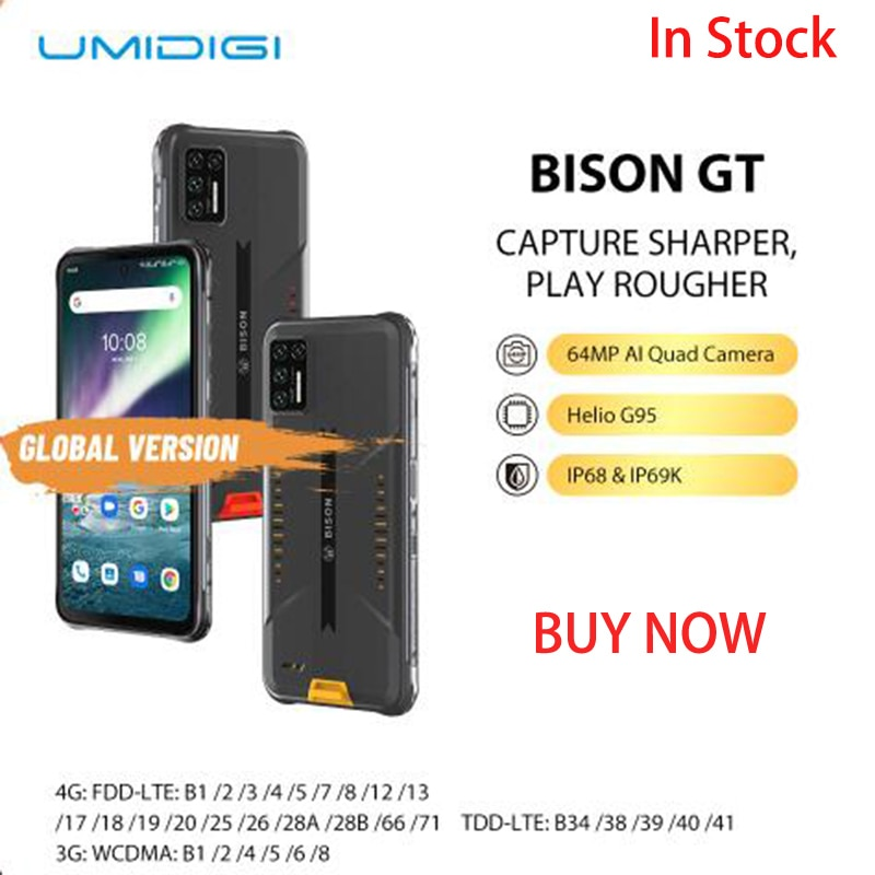 UMIDIGI BISON GT مقاوم للماء IP68/IP69K هيليو G95 جوّال المهامّ الوعرة 64MP AI كاميرا رباعية 8GB + 128GB 6.67