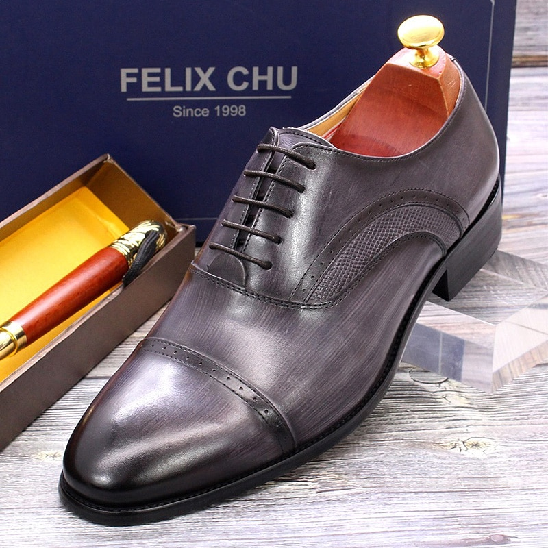 Size 6 To 13 Luxury Men's Dress Oxford Shoes Genuine Calf Leather Handmade Lace Up Pointed Cap Toe Wedding Business Brogue Shoes