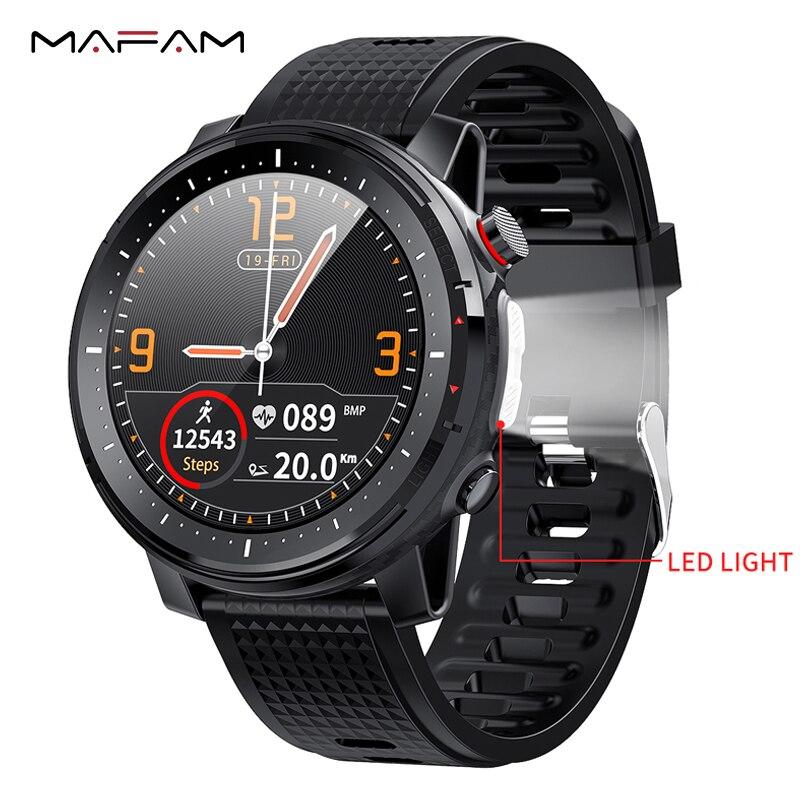 Mafam l15 relógio inteligente 1.3 polegada completo-ajuste redondo esporte retina display bluetooth música controle da câmera com lanterna led para xiaomi