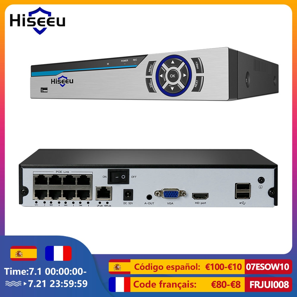 Hiseeu 4K 8CH POE NVR H.265 3.5 مللي متر الصوت خارج مراقبة الأمن مسجل فيديو لكاميرا IP POE (1080P/4MP/5MP/8MP/4K)