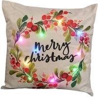 light up christmas holiday pillow cover throw pillow cover xmas pillow case with led lights rustic sofa back throw cushion cover
