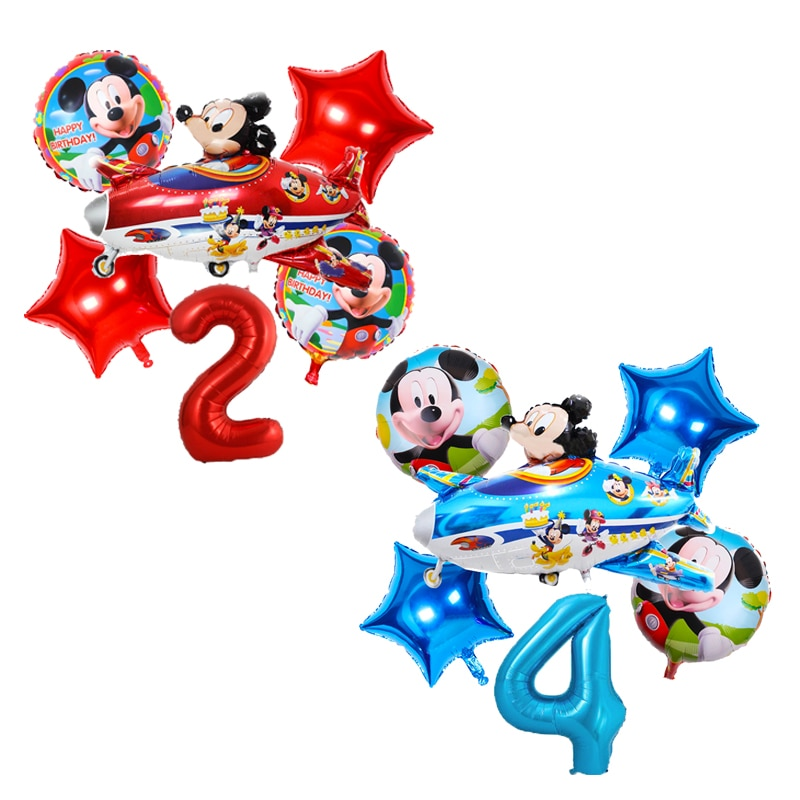 Disney Mickey Mouse Theme Cartoon Foil Number Balloon Baby shower girls Happy birthday party Decorations Supplies kid Favor toys