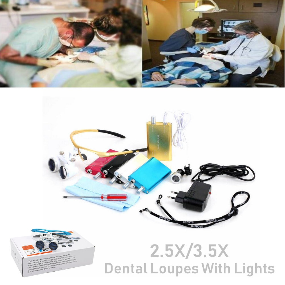 Médico Quirúrgico binoculares dentales con lupas ópticas de vidrio dentista lupas lupa con Led luces 2.5X/3.5X