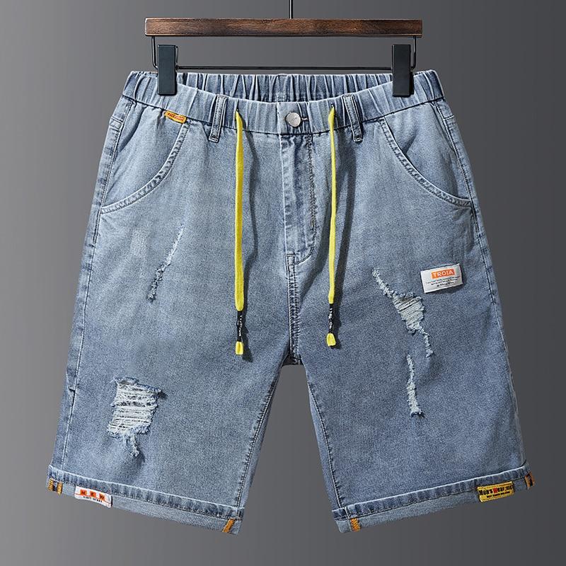 Pantalones cortos de talla grande 38-48 para hombre, pantalones vaqueros de marca Retro Nostalgia, Bermudas de tela vaquera, cordón azul con cintura elástica