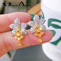 black angel 925 silver flowers stud earrings for women inlaid shiny asscher cut citrine fashion ins style jewelry student gift