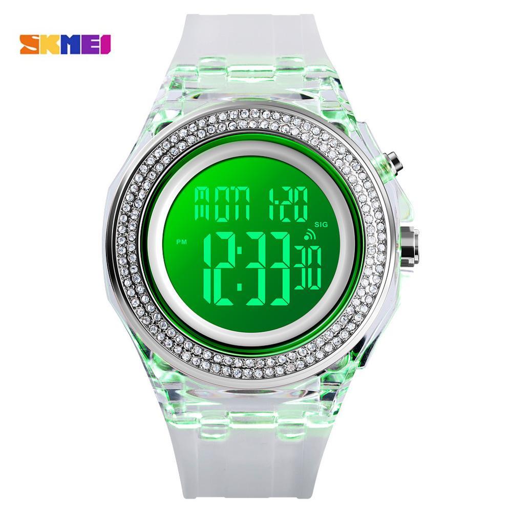SKMEI Luxury Ladies Watch Rhinestone Dial Women Watches LED Light Display Female Digital Clock Countdown Chrono Relogio Feminino