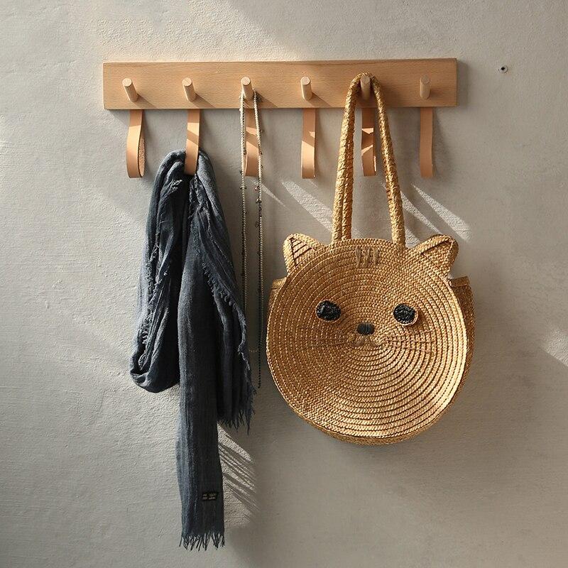 خطاف حائط خشبي وجلد/صف ، تعليق ملابس ، خطاف منشفة ، باب مطبخ منزلي ، حمام ، زخرفة جدارية