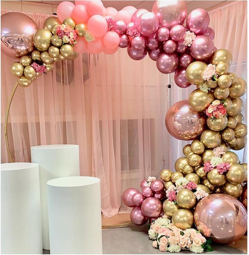 134 Uds 4D Rosa globo oro cromado DIY globos Pastel guirnalda arco Kit Ballon para cumpleaños boda bebé ducha partido Decoración