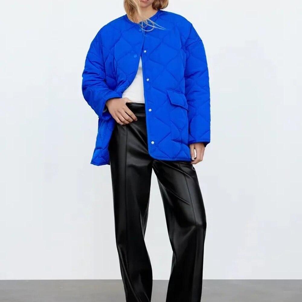 سترة سيدات شتوية زرقاء من XIKOM موضة 2021 وجيوب معطف مبطن موضة نسائية بأكمام طويلة