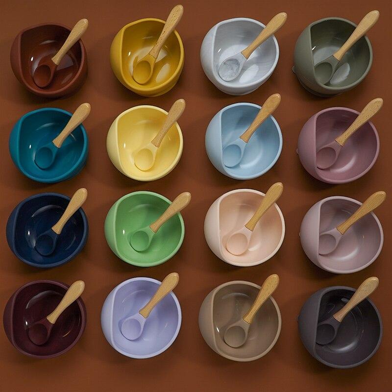 22colors set Silicone Baby Feeding Bowl Set Baby Learning Dishes Suction Set Wood