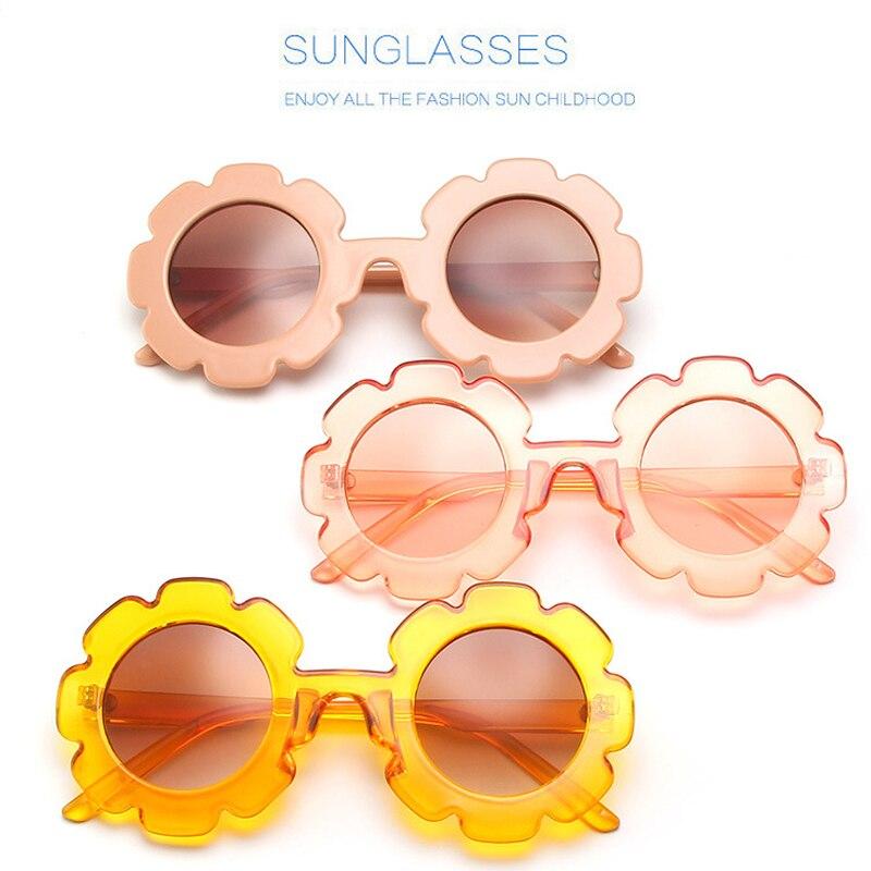 Elbru, gafas de sol para niños con diseño Floral, gafas de sol redondas de dibujos animados para niñas, UV400, gafas de sol de verano para niños, gafas de sol Okulary Oculos