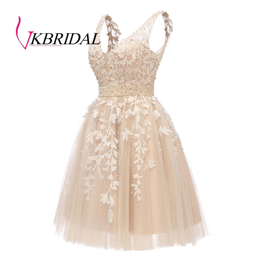 VKBRIDAL Short Homecoming Dresses 2019 Sexy Plunging V-Neck Tulle Lace Beaded Pearls Crystal vestidos de graduacion corto