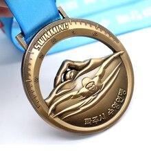 Goedkope Custom Antiek Brons Plated Medaillons Medailles Hot Sales 3D Metalen Zwemmen Sport Medaille