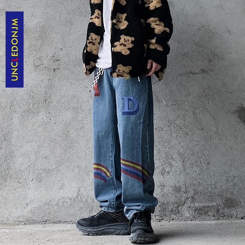 UNCLEDONJM Rainbow الجينز الرجال BF Harajuku ماركة الموضة الهيب هوب كول الشارع سراويل أنيقة السائق الجينز مصمم AN-C064
