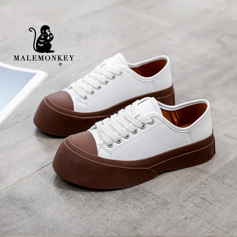White Sneakers Women Platform 2021 Autumn Round Toe Lace-Up Closure Ladies Casual Flats Shoes Handma