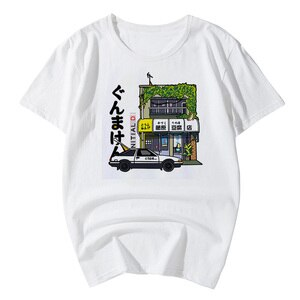 Anime Initial D T Shirt Fujiwara Takumi Initial D T-shirt Fujiwara Takumi Tofu Shop Tee Shirt Classic AE86 Car Racing top tee