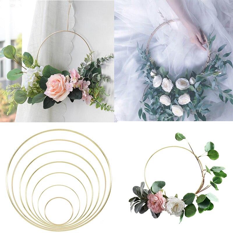 Золотое металлическое кольцо для невесты, переносная гирлянда, искусственный цветок, стойка, сделай сам, Свадебный венок, круг, для девочек, ловля, обруч, подвесной Декор