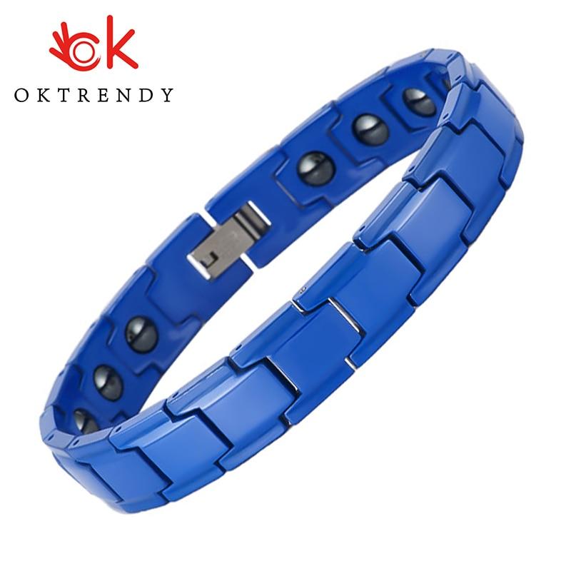 Oktrendy Blue Ceramic Hematite Healing Bracelet with Magnet Healthy Hand Chain Male Jewelry Bio Energy Health Care Bracelets