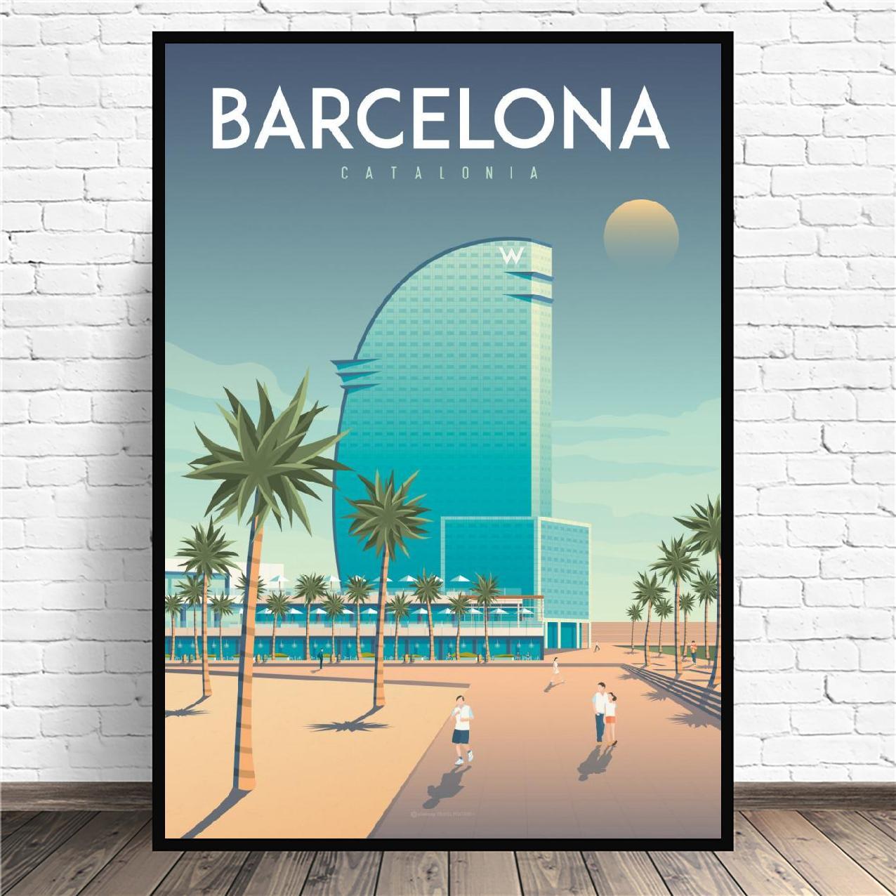 Viajes de Barcelona de pintura de la lona de la pared imágenes...
