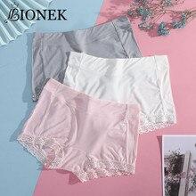 BIONEK femmes Lingerie grande taille pantalons de sécurité doux confortable coton Boxer Shorts avec sous-vêtements en dentelle culottes Offre Spéciale culottes