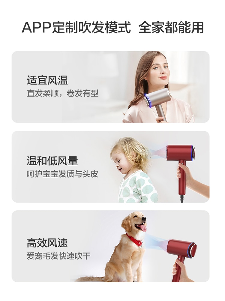 TINECO adds smart hair dryer home negative ion hair care high-power hot and cold hair dryer Movan gift enlarge
