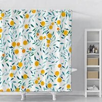 Rideau de douche impermeable a imprime de fleurs et de feuilles  avec crochets  pour salle de bain et douche  en tissu Polyester  decor