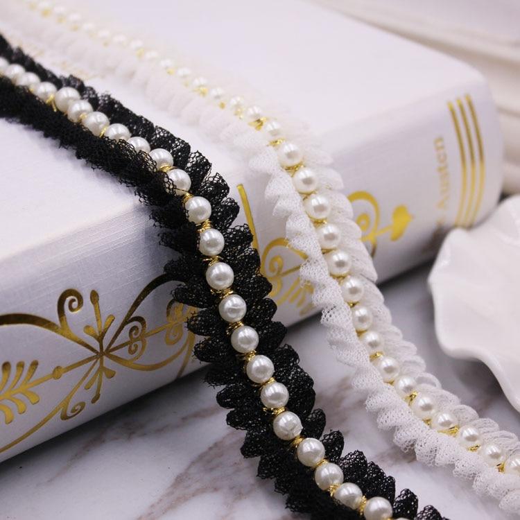 1 yardas/lote Vintage Nylon perla de oro cinta de encaje con cuentas ajuste tejido bordado hecho a mano vestido de traje de falda de encaje de coser suministros