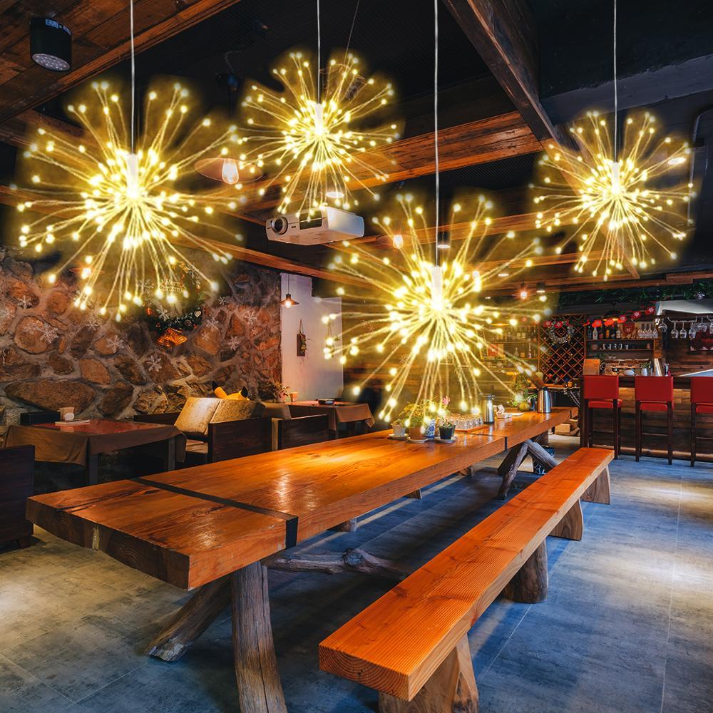 Tira de luces navideñas LED 120 Leds DIY luces de fuegos artificiales luz centelleante al aire libre