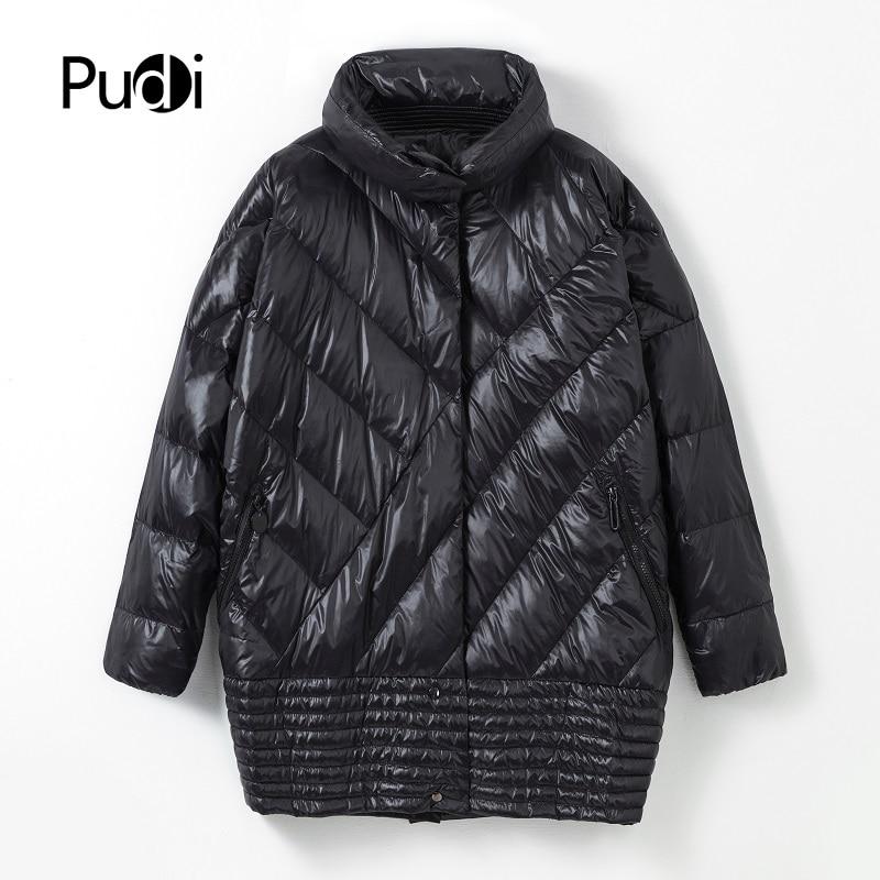 Pudi Women new Nylon fabric 90% duck down winter warm coat oversize lady Age reduction causal jacket XM902