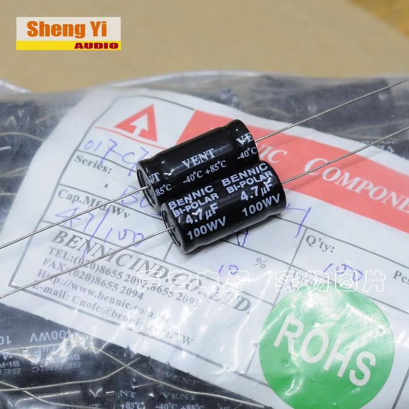 2 pçs frete grátis bennic 4.7uf 100v 100wv divisor de freqüência dedicada promessa alta fidelidade capacitor áudio