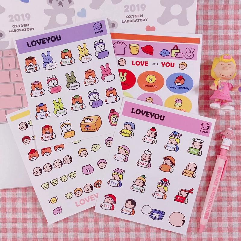 Cartoon Character Girl Sticker Decoration Cute Animal Diary Notes Handmade Label Sticker Children Diy Items Stationery Gift