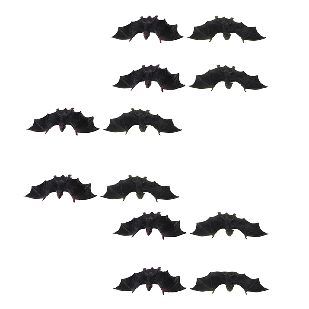 12 Pieces Mini Black Plastic Bat Toys Flying Animal Models Home Decoration Collection